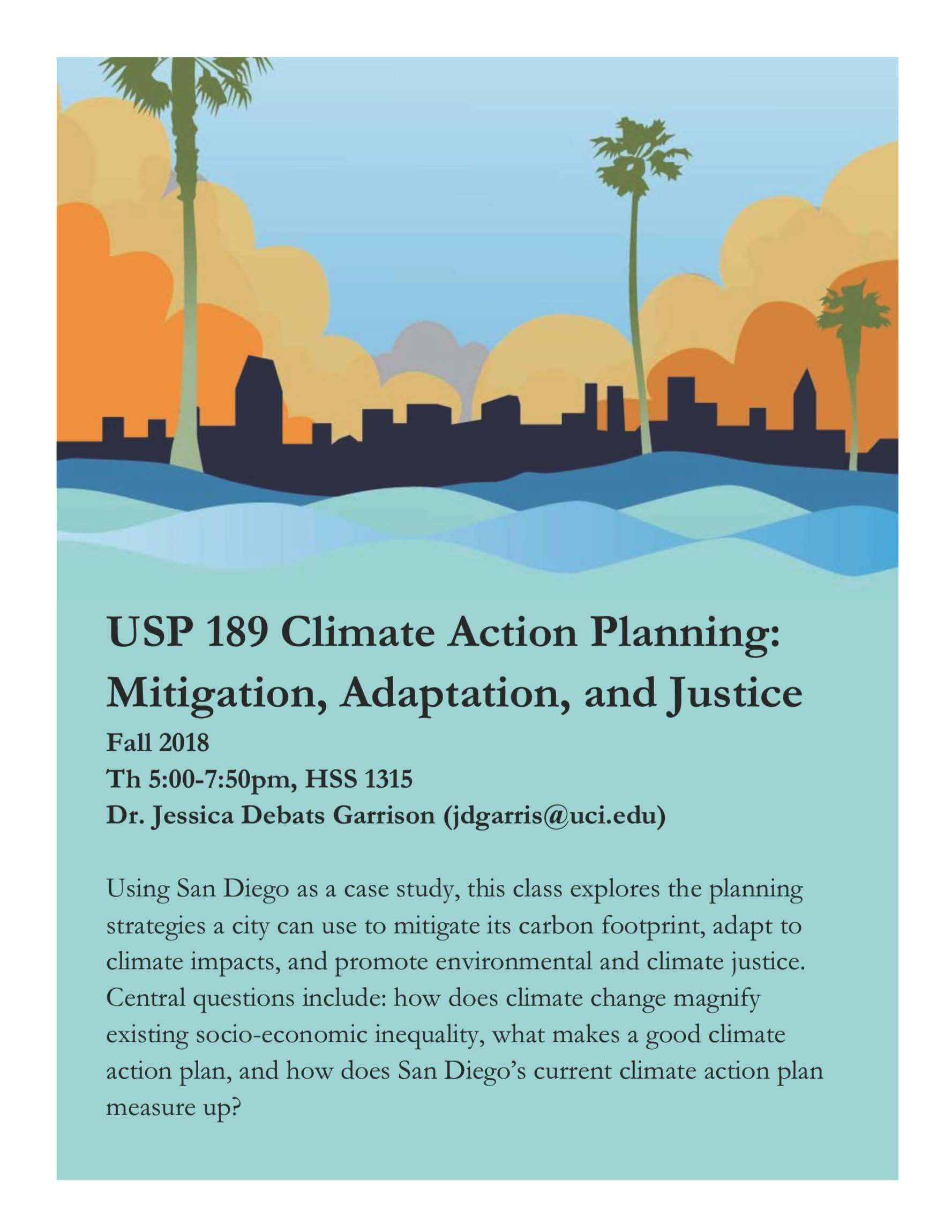 Using San Diego as a case study, this class explores the planning strategies a city can use to mitigate its carbon footprint, adapt to climate impacts, and promote environmental and climate justice. Central questions include: how does climate change magnify existing socio-economic inequality, what makes a good climate action plan, and how does San Diego's current climate action plan measure up?